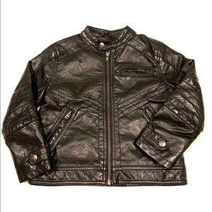 Kids Faux Leather Biker Jacket with zip pockets